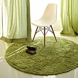 SANNIX Round Shaggy Area Rugs and Carpet Super Soft Bedroom Carpet Rug for Kids Play(Green,0.8X0.8M)