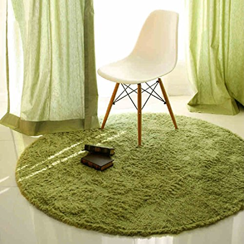 SANNIX Round Shaggy Area Rugs and Carpet Super Soft Bedroom Carpet Rug for Kids Play(Green,0.8X0.8M) ()