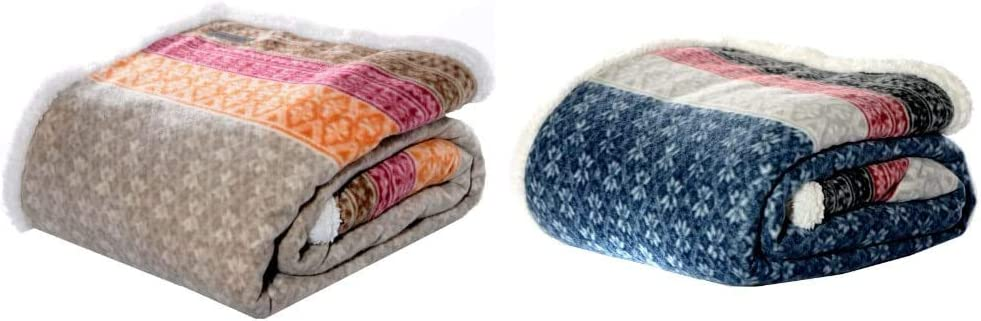 Eddie Bauer Home | Brushed Fleece Reversible Sherpa Throws, Fair Isle Khaki + Fair Isle Midnight