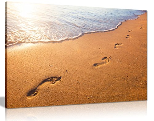 Relaxing Beach Wave And Footprints At Sunset Canvas Wall Art Picture Print (36x24in)
