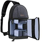 MOSISO Camera Bag, Water Repellent Shockproof Sling Backpack with Adjustable Crossbody Strap and Removable Modular Inserts for DSLR/SLR/Mirrorless Cameras (Compatible Canon,Nikon,Sony etc.), Black