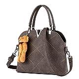 Ryse Womens Fashionable Metal Cute Bear Ornaments Exquisite Handbag Shoulder Bag(Grey)