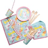 1st Unicorn Birthday Party Tableware Set,RiscaWin Party Set Supplies for 8,Paper Plates,Paper Cups,Paper Straws,Napkins,Wooden Forks,Wooden Knives, Wooden Spoon– Complete Party Pack(1st Unicorn)