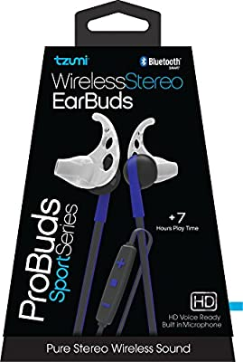 Tzumi Bluetooth Wireless Stereo ProBuds Sports Earbuds - Rechargeable Wireless Headphones with Powerful Bass - Built in High Definition Microphone and Remote Music Control - Blue