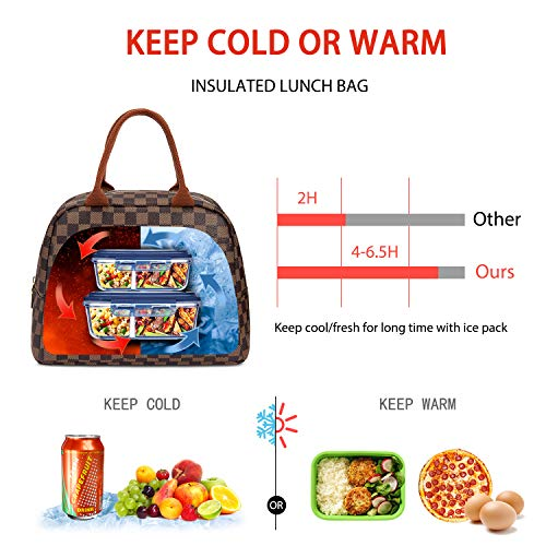 71449ee0228c WODKEIS Lunch Bags For Women Insulated Lunch Box Cooler Bag Water-resistant  Thermal Lunch Tote Bag Soft Leak Proof Lunch Holder for ...