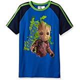 Marvel Boys' Little Guardians of Galaxy Glow in The Dark Groot T-Shirt, Blue, 4