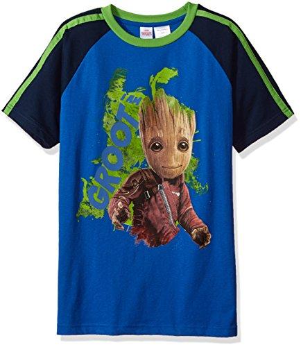 Marvel Boys Little Guardians of Galaxy Glow in The Dark Groot T-Shirt, Blue, 7
