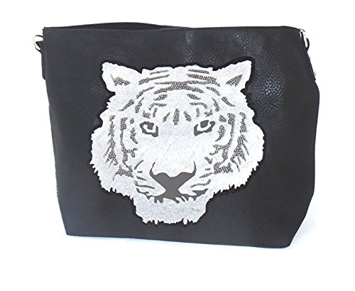 Shopper mit Strass Tiger schwarz 42x32x13cm