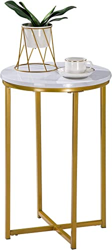 SSLine Gold Round Side Table Modern White Nightstand Bedside End Table with Faux Marble Table Top Compact Accent Coffee Table w Golden Metal Frame for Living Room Bedroom Balcony Office