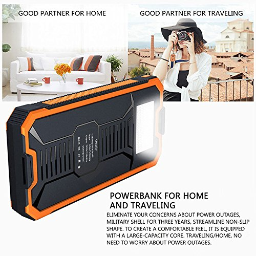 Quslly Solar Chargers 20000mAh mobile Solar power Bank huge Efficiency Cellphone Chargers Rain immune Dirt Shockproof Backup throughout double USB Port Solar Battery Charger for USB solutions Orange Solar Chargers