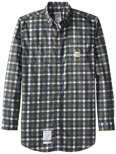 Carhartt Men's Big & Tall Flame Resistant Classic Plaid Long Sleeve Woven Shirt,Moss,Large Tall