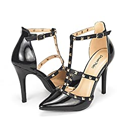 DREAM PAIRS OPPOINTED-ANKLE Women's Pointed Toe Ankle Strap D'Orsay High Heel Stiletto Pumps Shoes Black Size 6
