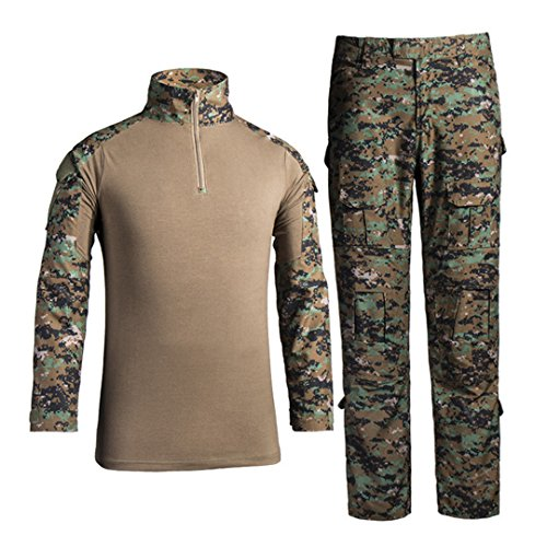 QCHENG Men's Military Tactical Shirt and Pants Multicam Army Camo Hunting Airsoft Paintball BDU Combat Uniform Dry Quick Digital Jungle Large ()