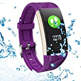 Fitness Tracker HR, Heart Rate Monitor Activity Band, Blood Pressure Sleep Monitor Pedometer, 0.96inch TFT Colorful OLED Screen, Waterproof Bluetooth Bracelet Compatible with Android & iOS (Purple)