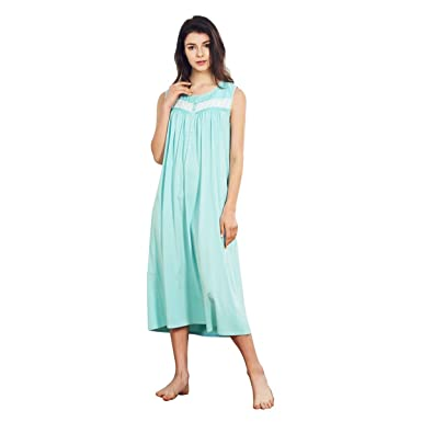 Dorekim Women s 100% Cotton Sleeveless Round Neck Long Sleepwear Nightgown  DK6808 (S) 9f2f54615