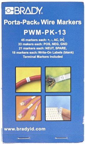 - Brady PWM-PK-13 B-500 Repositionable Vinyl Cloth, Black on White Porta-Pack Wire Marker, Legend