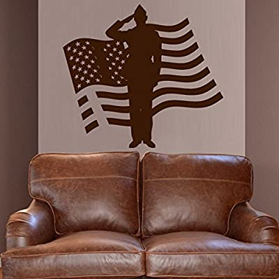 Wall Decal Decor Decals Sticker Art Army Soldier Military Weapons American Flag Vest Room Home Nursery M1637 Made in USA