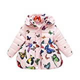 BOBORA Infant Baby Girl Butterfly Pattern Coat Toddler Jacket Outwear (6 Months-1 Year, Pink-zipper)