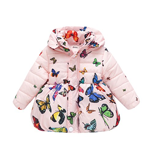 BOBORA Infant Baby Girl Butterfly Pattern Coat Toddler Jacket Outwear (6 Months-1 Year, Pink-zipper) by BOBORA
