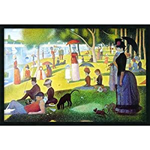 """Framed Art Print, 'Sunday Afternoon on the Island of La Grande Jatte, 1884-1886' by Georges Seurat: Outer Size 37 x 25"""""""