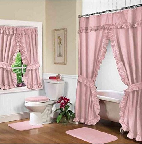 Home Fashions Pink Rose Double Swag Shower and Window Curtain Set with Liner