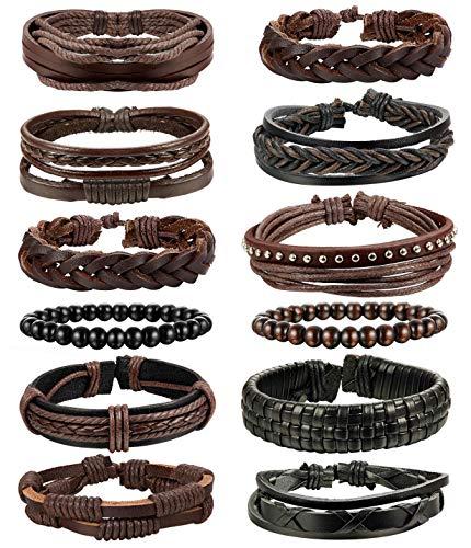 LOLIAS 24 Pcs Woven Leather Bracelet for Men Women Cool Leather Wrist Cuff Bracelets Adjustable (Style D4:12 HZ)