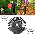 QMOEH 50pcs Drip Emitters,Adjustable 360 Degree Water Flow Drip Irrigation System And 50 PCS Support Stakes Perfect for 4 mm / 7 mm tubes.