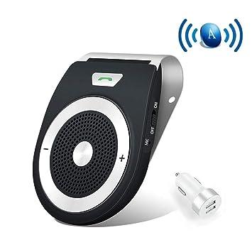 Bluetooth Manos Libres Coche Kit Auto Power ON con Sensor de Movimiento Integrado, reducción de Eco y Ruido de Fondo para la Visera GPS y música Al ...