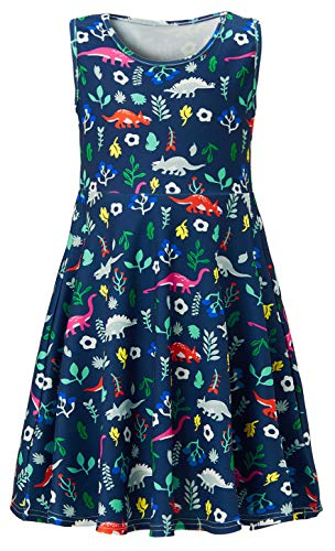 Dinosaur Dresses for Girls 6t 7t Little Princess Green Weeds Red Lace Twirl Dress Up Clothes 3D Printed Kawaii Angel Daughter Navy Overalls Outfits in Wedding Dance Party Ball Play Wear (Size 6 7)]()
