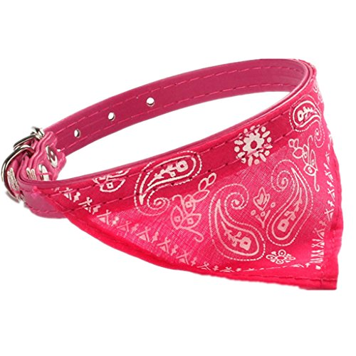 Mikey Store Adjustable Pet Dog Cat Puppies Collars Scarf Neckerchief Necklace Triangle (Hot Pink)