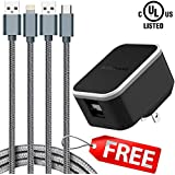 USB Charger, Dual Port Wall Charger, UL Listed Travel Charging Adapter, 2Amp with 2X Cables, Foldable Prongs for iPhone Xs/XS Max/XR/X/8/7/6/Plus, iPad, Samsung, Huawei, LG, Nexus and More (Black)