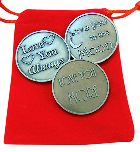 Love Token (Love Token Gift Set Three Differenet Large Tokens with Red Gift Bag)