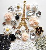 LOVEKITTY DIY 3D Eiffel Tower Bling Cell Phone Case Resin Cabochons Deco Kit / Set