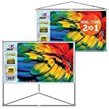 JaeilPLM 100-Inch 2-in-1 Portable Projector Screen, Outdoor Indoor Compatible with Triangle Stand or Hanging Design...