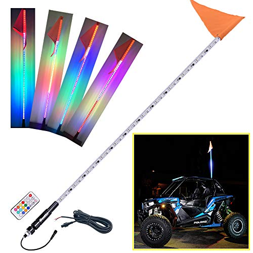 Beatto 6FT(1.8M) RF Remote Controll RGB LED Whips Light With Dacning/Chasing Light LED Antenna Light For Off- Road Vehicle ATV UTV RZR Jeep Trucks Dunes.