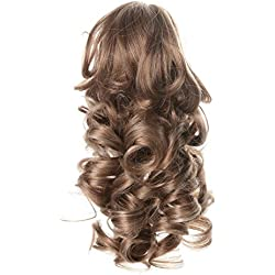 "Onedor 12"" Synthetic Fiber Natural Textured Curly Ponytail Clip In/On Hair Extension Hairpiece (15H613)"