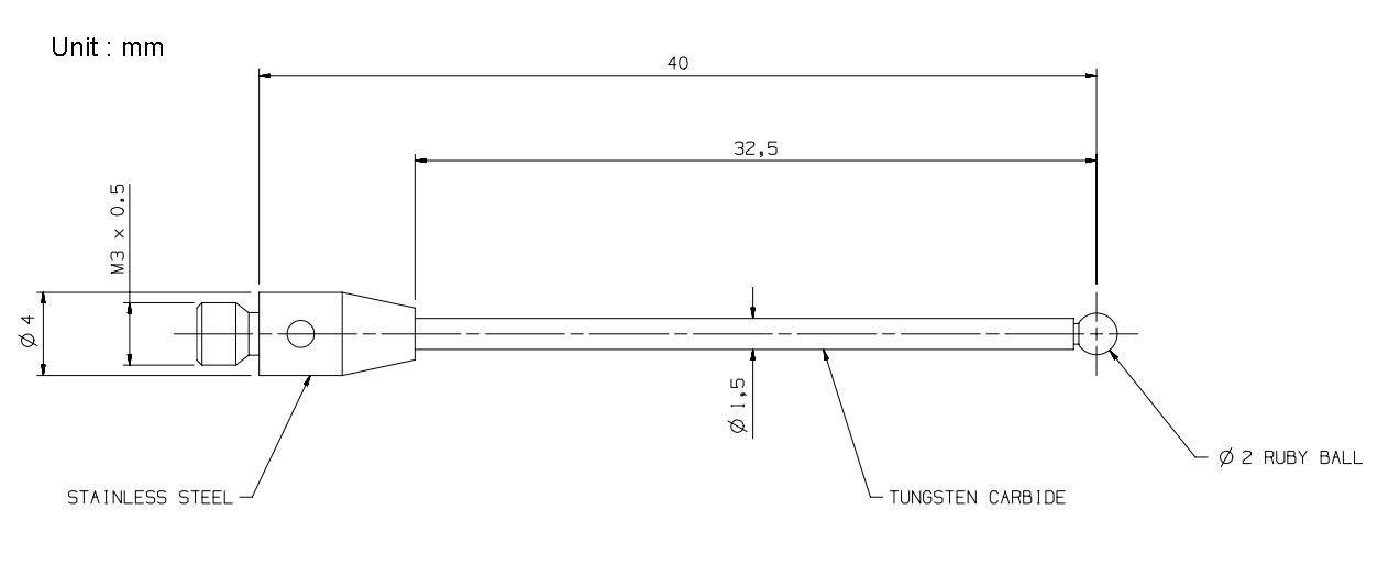 60mm length stainless steel M2 Extenson for CMM Probe stylus