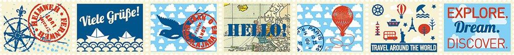 zum dekorieren und Verzieren moses Briefmarkensticker 82438 Fernweh Deko Briefmarken Klebeband