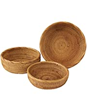 Wicker Bread Fruit Basket Bowl | Round Tabletop Rattan Woven Serving Bowls for Home and Restaurant (Set 3 Bowls)