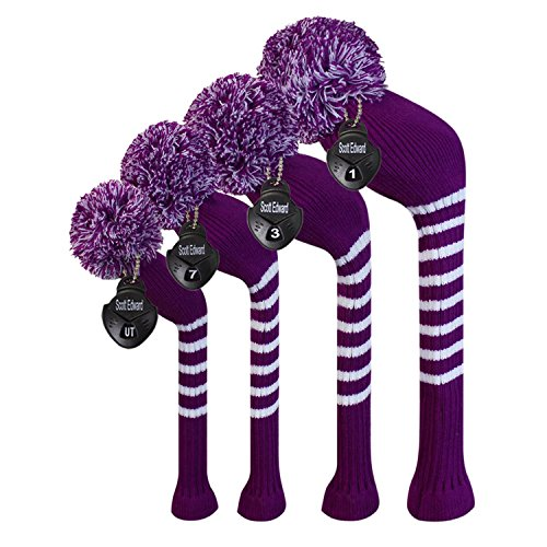 Knit Golf Club Covers - Scott Edward Bright Color Golf Club Head Covers Set of 4, fit for Driver Wood(up to 460cc), Fairway Wood,Hybrid(UT),Individualized Looking and Washable (Purple White)