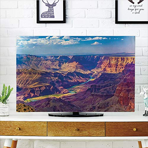 LCD TV dust Cover Customizable,House Decor,Aerial View of Epic Grand Canyon Activity of River Stream Over Rock Plateau Print,Blue Tan,Graph Customization Design Compatible 60