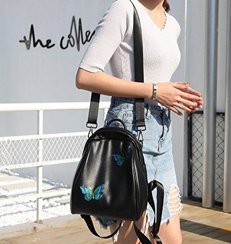 Damen Schultertasche Mädchen Leder Wasserdicht Farbe Schmetterling Trend Sicherheit Tasche Mode B 3OQXTSxi