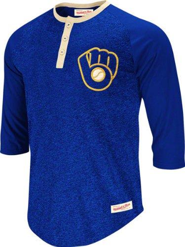 652df55ebc5 Milwaukee Brewers Royal Mitchell & Ness Fastball 3/4 Sleeve Henley T-Shirt