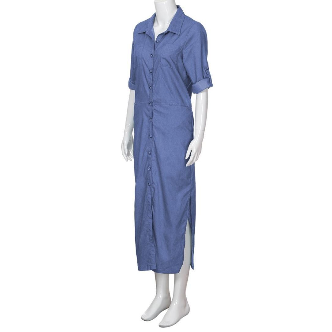 6a2b80581a5 Minisoya Women Plus Size Long Sleeve Denim T-Shirt Dress Kaftan Tunic  Pockets Split Casual Loose Party Long Maxi Dress at Amazon Women's Clothing  store: