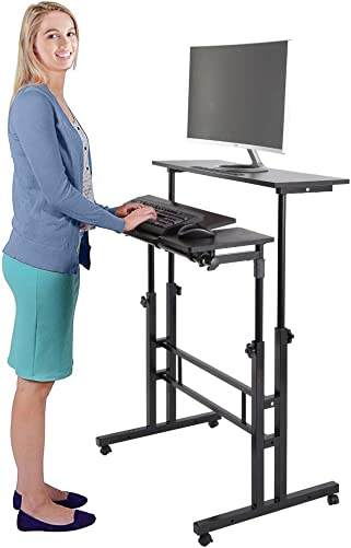 Ejoyous Standing Desk, Adjustable Desktop Mobile Wheel Stand up Desk with Dual Surface Home Office Computer Workstation Ergonomic Desk