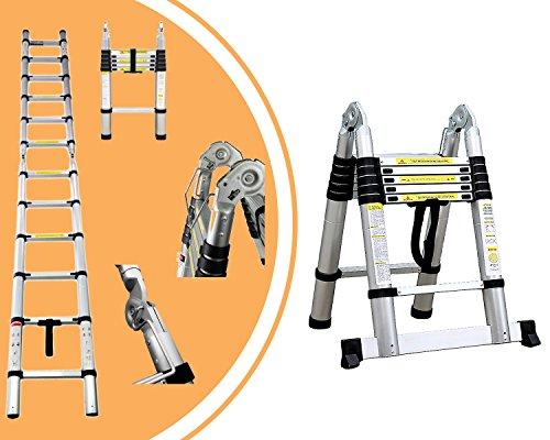 Leogreen - Escalera Multiusos, Escalera Telescópica, 3,8 Metro(s), Barra estabilizadora, EN 131, Estándar/Certificación: EN131, Número de peldaños: 12: ...