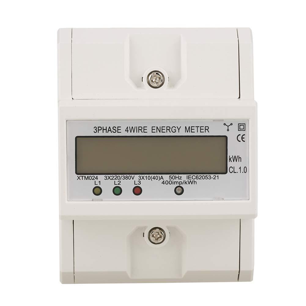 Compteur /électrique sur rail DIN , 1 pcs 3 x 220V Num/érique triphas/é 4 fils 4P Compteur /électrique sur rail DIN M/ètre /électronique KWh 40 10 A