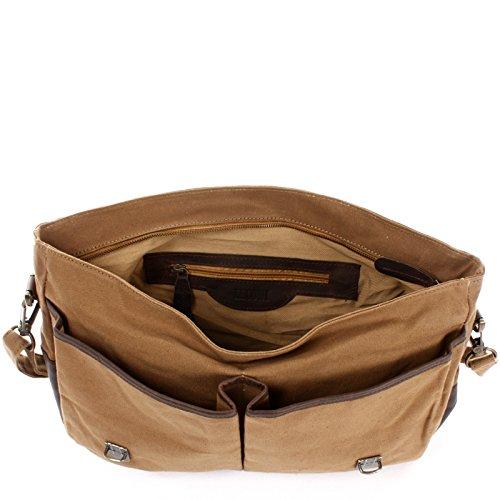 leconi College funda piel Canvas Messenger Bag trabajo Funda Hombre Mujer DIN A4escolar 41x 28x 13cm le3018de c khaki / dunkelbraun