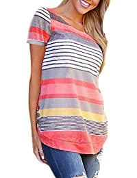 Women Casual Stripe Blouse Crewneck Short Sleeve Pullover Tunic Tops Shirts