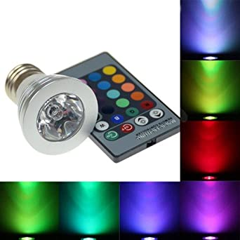 Color Changing Led Light Bulbs: 16 Color Changing E27 3W 180LM RGB LED Light Bulb Lamp with 24 key IR Remote,Lighting